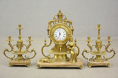 RARE french 1976 marble Lion fountain heads lady dog clock + pair candelabras