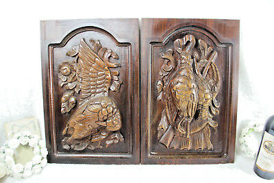 PAIR antique Black Forest wood carved hunting cabinet door panels bird no1