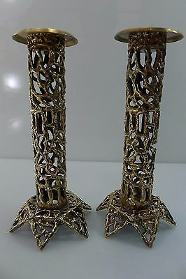 Antique/vintage Judaica Shabbat Kodesh All Brass Pair Of Candle Stick Holders