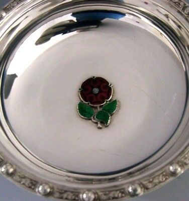 Quality Solid Silver Enamel Celtic Tudor Red Rose Dish 1973 English