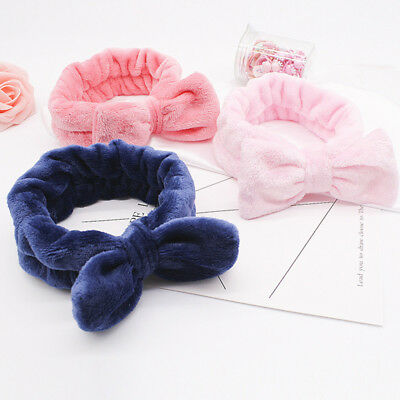 Women Girls Headwear Cute Bow Knotted Towel Hair Band Wrap Wash Face Headband