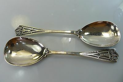 Rare Pair Of Antique English Hallmarked Solid Silver Serving / Spoons