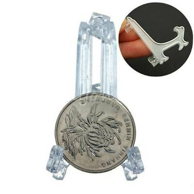 5Pcs Clear Mini Plastic Coin Minerals Plates Cards Display Easel Stand Holders