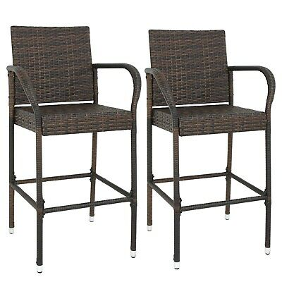 Wicker Rattan Bar stools Patio Indoor Outdoor Spare Time Chair Set 2 PCS