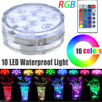 4-20PC Submersible 10LED Waterproof Light RGB Vase Wedding Party Fish Tank Decor