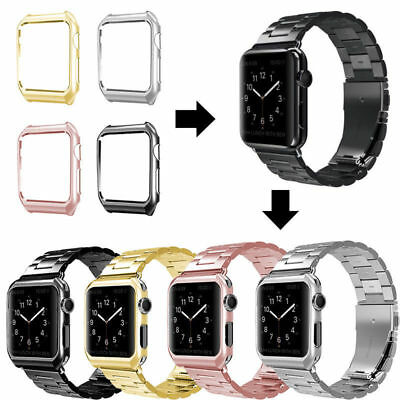 Stainless Steel Wrist iWatch Band Strap With Cover For Apple Watch Series 4/3/2