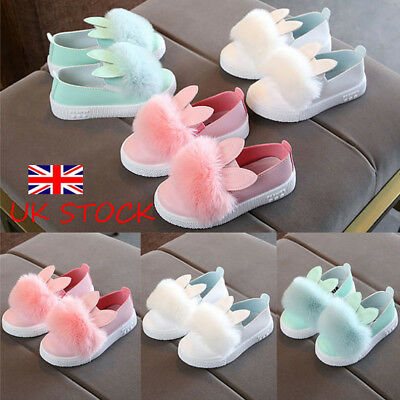 UK Kids Girls Cute Rabbit Ears Pompom Slip On Flats Toddler Baby Casual Shoes