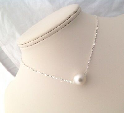 Free Shipping! 13mm Australian South Sea Pearl floating on Sterling Silver Chain