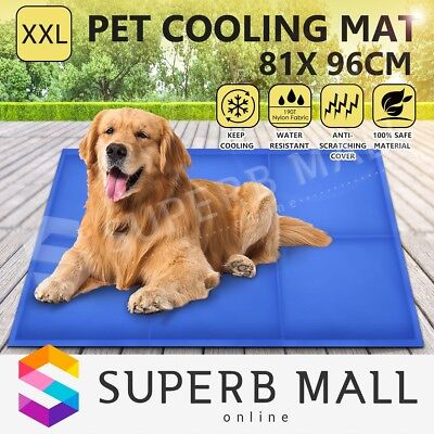 XXL Pet Cooling Gel Bed Mat Dog Cat Non-Toxic Cool Pad Puppy Cold Summer 81x96cm