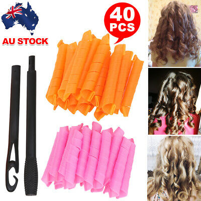 40PCS 50cm Magic Hair Curlers Curl Formers Spiral Ringlets Leverage Rollers AU