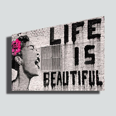 Quadri Moderni BANSKY Life is Beautiful Stampa su Tela CANVAS casa arredamento