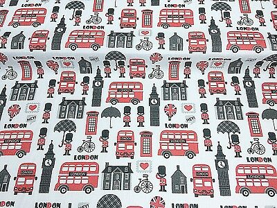 Polycotton Fabric Crafts White Love LONDON UK RED BUS Metre Cheap Special Offer
