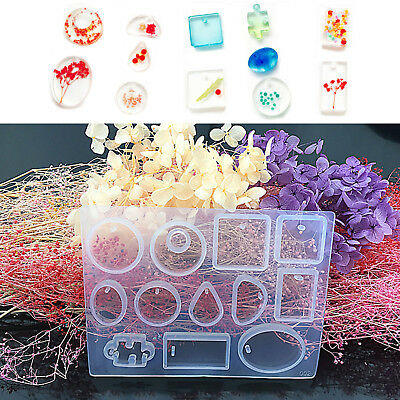 12 White Silicone Mould DIY Resin Necklace Jewelry Pendant Mold Making Tool