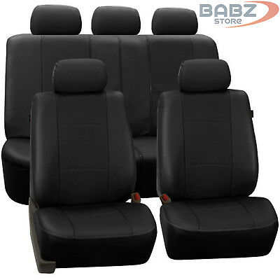 Universal Black Heavy Duty Leather Look Car Seat Covers Set Friendly Uk