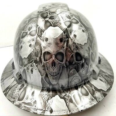 Hard Hat Full Brim Custom hydro dipped ENGRAVED SKULLS OF DEATH best price
