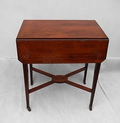 Antique ROSEWOOD VICTORIAN PEMBROKE TABLE WITH SINGLE DRAWER CIRCA 1890