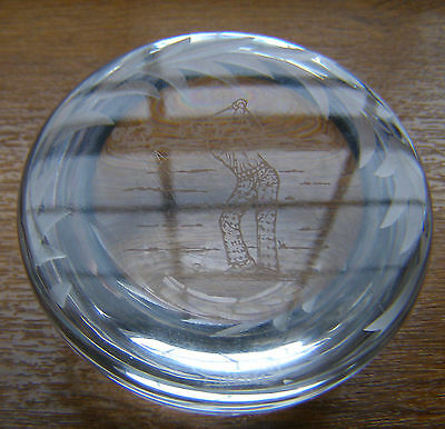 Edinburgh Crystal Glass Golfer Paperweight Mad About Golf Etched On Base Vgc