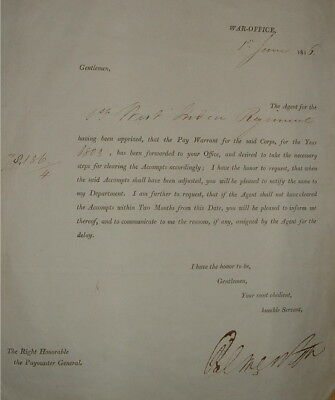 A pay warrant to the 1st West India Regiment, 1st June 1816. Signed by Palmeston