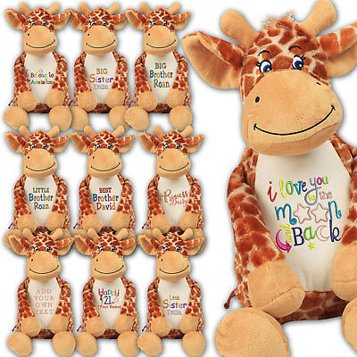 Large Giraffe 45cm Personalised Soft Plush Giraffe Teddy Embroidered & your Name