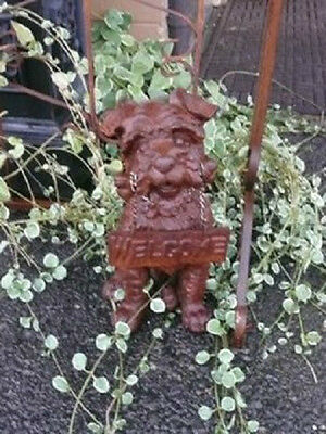 Rust Cast Iron Dog Terrier Welcome Statue Home Garden Yard Outdoor Porch Decor