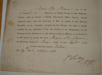 Document relating to Regiment Dutch Troops in his Majesty's service 1808