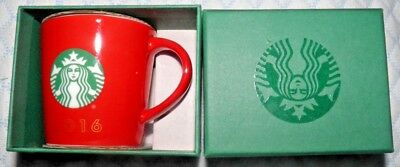 2016 Starbucks Red 3 ounce Mini Mug with Starbucks Seal-NIB