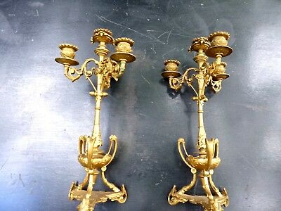 ** French Antique Ormolu Candelabra Candlesticks **