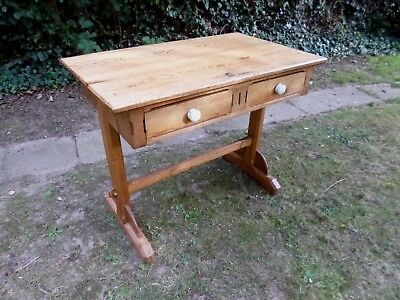 ** Antique Pine 2 Drawer Desk * Hall Table **