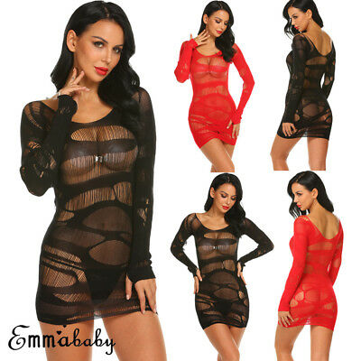 AU Sexy-Women Mesh Lingerie Bodycon Nightwear Underwear Babydoll Sleepwear Dress