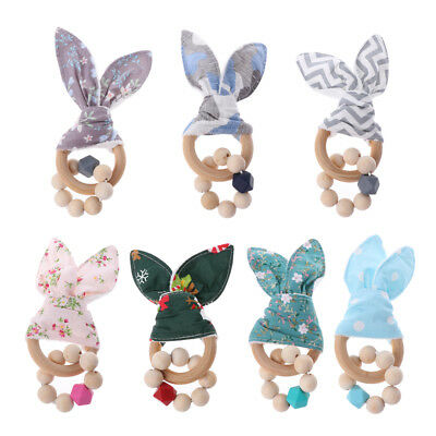 Christmas Baby Boy Bunny Ear Teether Safe Organic Wood Teething Ring Shower Toy