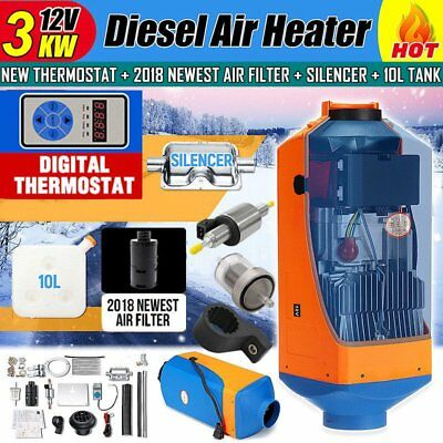 12V 3KW Diesel Air Parking Heater Air Heating Digital Thermostat with Silencer K