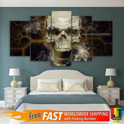 5 Pieces Home Decor Canvas Print Painting Wall Art Abstract Skull Smoke Poster