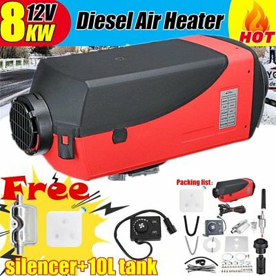 12V 8KW Diesel Air Heater Tank Vent Duct Thermostat Caravan Motor+Silencer 8000W