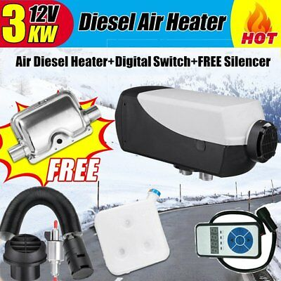 12V 3KW Diesel Air Heater Tank Vent Duct Thermostat Caravan RV+Digital Switch AU