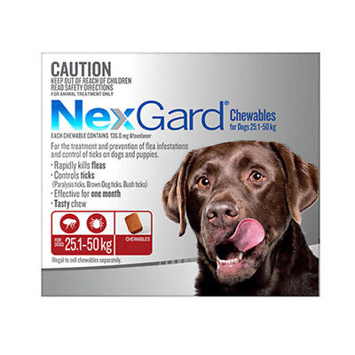 Nexgard Chewables for Dogs 25.1 - 50kg RED Flea & Tick 1 Chew  3 Pack 6 Pack