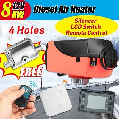 4 Pin 8kw 12V/24V Diesel Air Parking Heater LCD Swtich Silencer & Remote Control