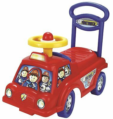 Push Along Smart ride Fire Engine Truck Walker Toy With Under Seat Storage