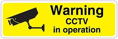 WARNING CCTV IN OPERATION Sign Sticker Vinyl Health and safety 300mm x 100mm