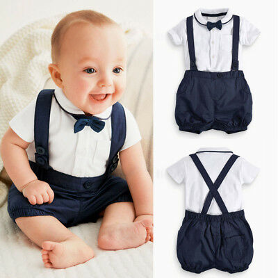 3PCS Toddler Baby Boy Clothes Outfit Suit T-shirt Top+Overall Bib Pant+Bow Tie A