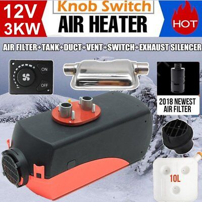 12V 3KW Diesel Air Heater Tank Vent Duct Thermostat Caravan Motor RV+Silencer M2