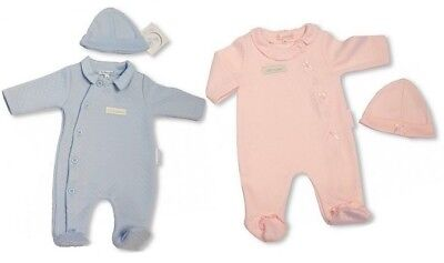 Baby Boys Girls Babygrow Button With Sleepsuit Collar All in One Hat NB 3 73 83