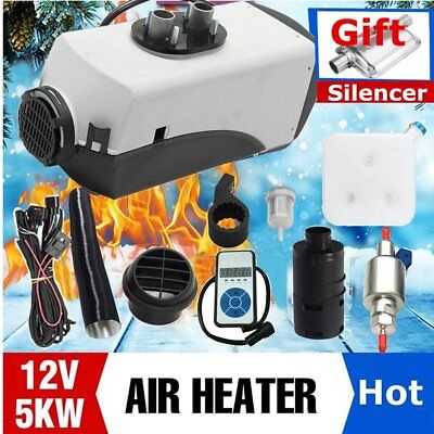 12V 5KW Diesel Air Heater Tank,Vent,Duct,Thermostat For Bus Boats + Digital FR