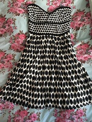 Womens Black And White Polka Dot Strapless Dress Size M 1200