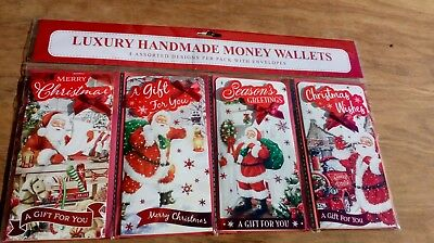 Christmas money wallets Pack of 4, Luxury Handmade, Santa designs with envelopes