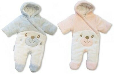 Tiny Baby Premature 3 5 8 lbs Bear Padded All in One Snowsuit Pink Blue Hood 20