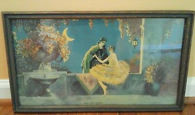 VINTAGE 1920s Art Deco frame Litho Print MARYGOLD TSANYA Love's Recognition NICE