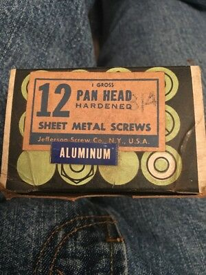 "1 Box Of 144 Aluminum # 12 X 3/4"" Pan Head Sheet Metal Screws  USA MADE"