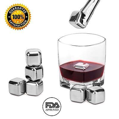 Whiskey Stones Stainless Steel Reusable Wine Cooling Cubes with Ice Tongs 6 Pcs