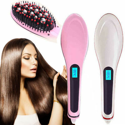 New Fusion Hair Straightening Heated Brush Detangle Comb Electric LCD 3 Colours