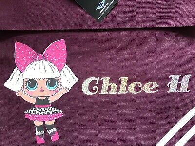 PERSONALISED any name PUG DOG PUPPY PRIMARY SCHOOL READING BOOK BAG JUNIOR JMI